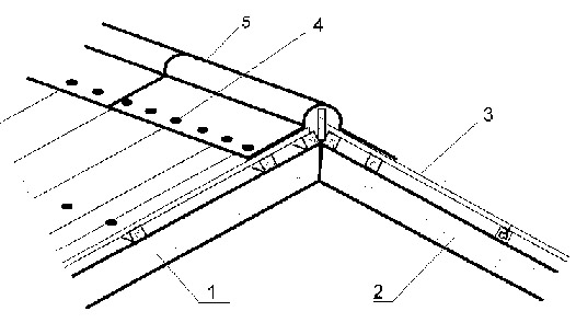 Установка конькового элемента (схема)