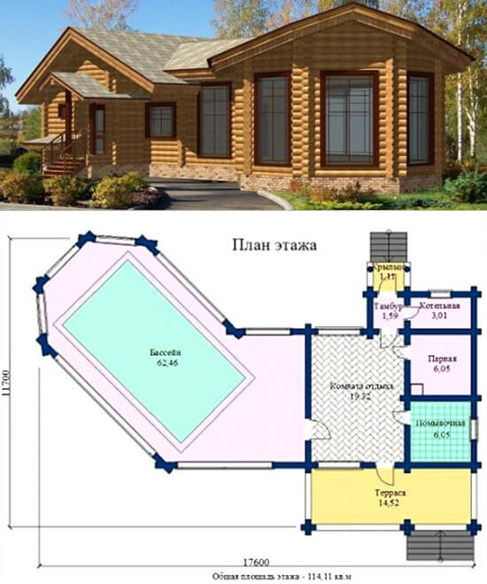 Проекты бань с бассейном под одной крышей