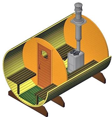 Конструкция прохода трубы через крышу в бане-бочке (рисунок)