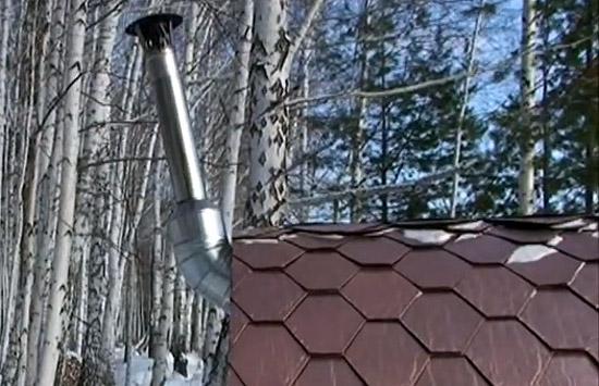 Выход печной трубы через торцевую стену в бане-бочке (фото)