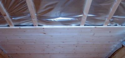 Строительство настильного потолка в бане (фото)