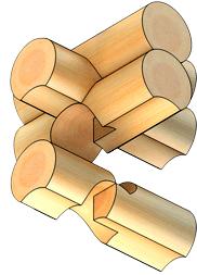 Рубка сруба в обло с присеком (схема)