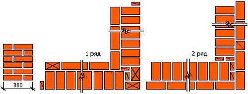 Схема кладки углов в 1,5 кирпича при однорядной перевязке швов.